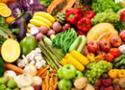 Cesta com frutas e legumes