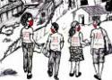 Desenho de agentes de saúde andando na rua