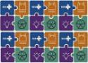 Mosaico com símbolos da Fiocruz, do SUS e da acessibilidade
