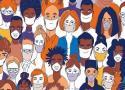 Desenho de pessoas de máscara
