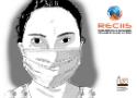 Desenho de uma mulher de máscara